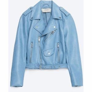 Zara Baby Blue Faux Leather Biker Jacket